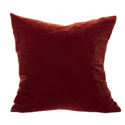 Silk Velvet Cushion - Burnt Orange